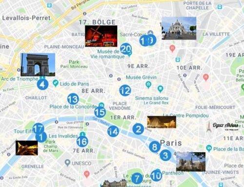 Paris Gezilecek Yerler Haritası